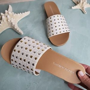 NEW White Studded Penny Slide Sandal